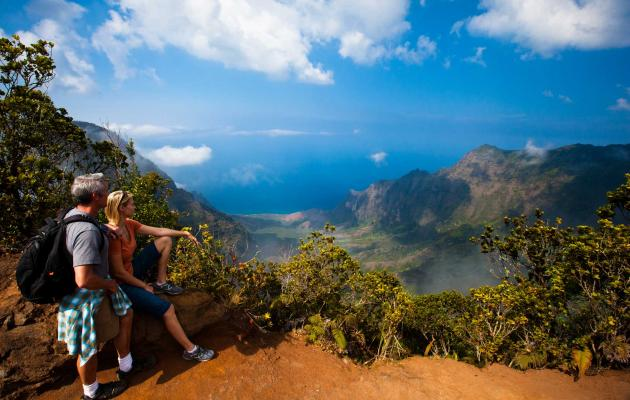 Hiking to a scenic overlook in Kokee State Park, Kauai