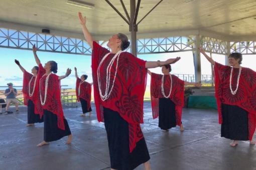 The Hula Sisters perform at Hilo Hula Tuesdays
