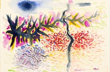 Harry Tsuchidana, Low Tide, 1964 watercolor on paper. Courtesy of the artist.