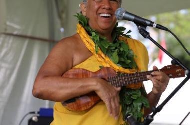 Enjoy Hawaiian music and hula at the Hawai'i Book & Music Festival. Kumu Hula Mapuana de Silva and her award-winning hula halau performed at the 2019 festival.