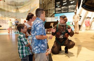 Guests speak with a costumed re-enactor portraying a Japanese Zero Pilot.