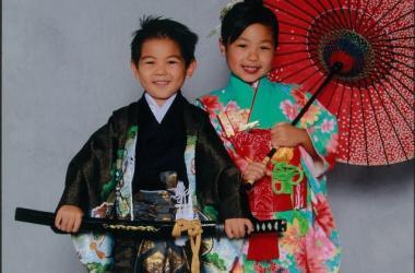 Shichi Go San participants wearing kimono.