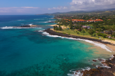 A birds eye view of the gorgeous south shore coastline of Kauai.