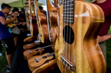 Ukulele displays by top manufacturers in the Islands
