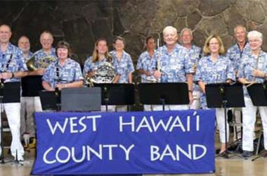 Members of the West Hawai'i County Band with band master Bernaldo Evangalista