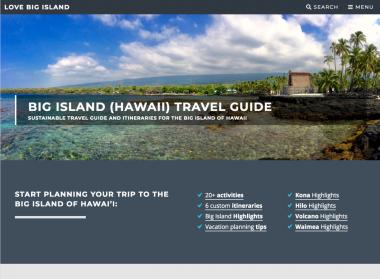 Landing page of the Love Big Island website