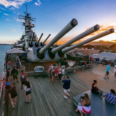 Battleship Missouri during Sunset