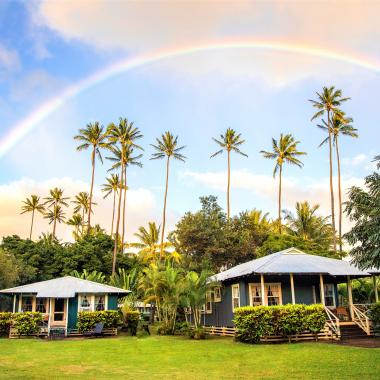 Rainbow Over Cottages
