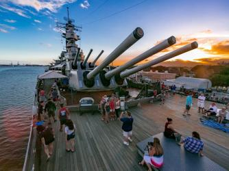 Battleship Missouri during Sunset