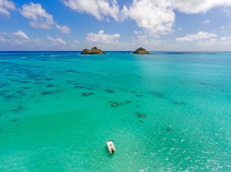 Lanikai Beach Rentals Airial image of our coast