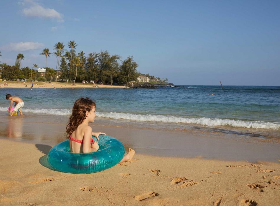 Family fun at Poipu Beach