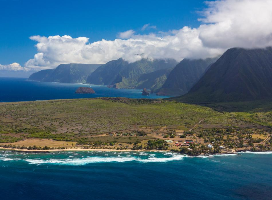 Aerial shot of Molokai's Kalaupapa Coast