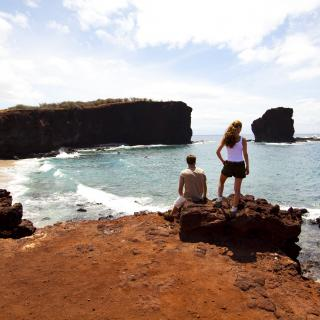 Looking out at Puu Pehe in South Lanai
