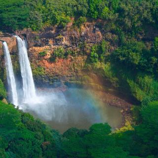 Aerial shot of the Wailua Falls in Lihue